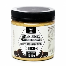 Pasta de Amendoim Integral com Mel Sabor Chocolate Branco com Cookies (1010g) - AmendoMel