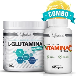 Combo L-Glutamina (300g) + Vitamina C 1000mg (100 Cápsulas) - Physical Pharma