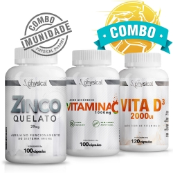 Combo Vitamina C 1000mg (100 Cápsulas) + Vitamina D3 (120 Cápsulas) + Zinco Quelato 29mg (100 Cápsulas) - Physical Pharma