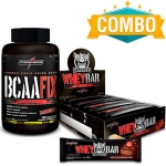 BCAA Fix 120 Tabletes + Whey Bar Darkness caixa (8 unidades) - Integralmédica