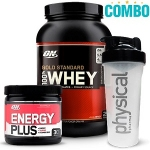 Combo Optimum - 100% Whey Protein Gold Standard (909g) + Energy Plus (150g) + 1 coqueteleira Physical Pharma