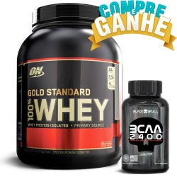 100% Whey Protein Gold Standard (2,270Kg) Optimum Nutrition + BCAA 2400 30 TBS BLACK SKULL