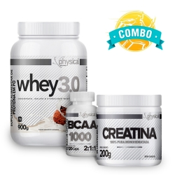 Super Combo Ganho de Massa - BCAA 1000 (120 Cáps) + Creatina (200g) + Whey 3.0 (900g) - Physical Pharma