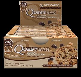 Quest Bar - Protein Bar Sabor Aveia com Chocolate (Caixa c/ 12 Unidades de 60g cada) - Quest Nutrtion