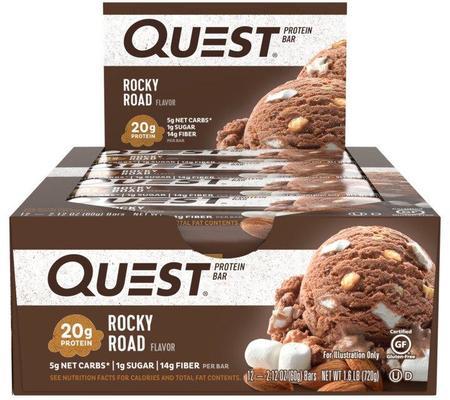 Quest Bar - Protein Bar Sabor Rock Road (Caixa c/ 12 Unidades de 60g cada) - Quest Nutrtion