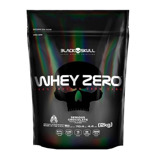 Whey Zero - Black Skull - Morango - 2 Kg (Refil)