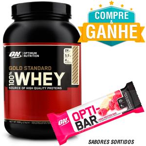 Whey Protein Optimum Nutrition - 100% Gold Standard Optimum - Brigadeiro - 909g Grátis 1 Opti-Bar 60g