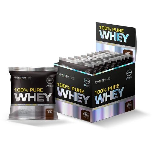 100% Pure Whey 1 Cx C/ 15 Unidades - Chocolate - Probiótica