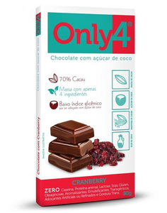 Chocolate com Açúcar de Coco - Cranberry  - Only 4 - 80g