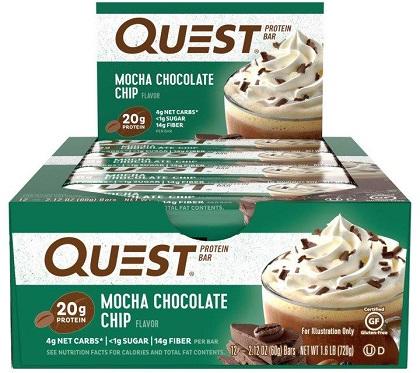 Quest Bar - Protein Bar Sabor Mocha Chocolate Chip (Caixa c/ 12 Unidades de 60g cada) - Quest Nutrtion