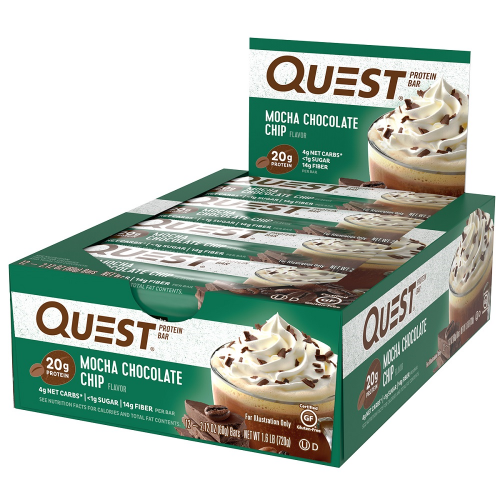 Quest Bar - Protein Bar Sabor Mocha Chocolate Chip (Caixa c/ 12 Unidades de 60g cada) - Quest Nutrtion