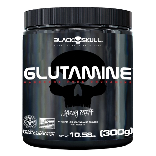 Glutamine Caveira Preta (300g) - Black Skull