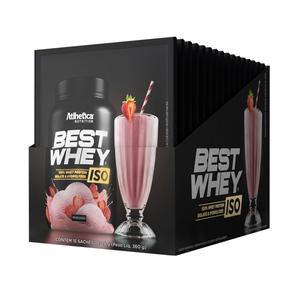 Best whey Iso Sabor Morango (Cx 15 Sachês) - Atlhetica Nutrition
