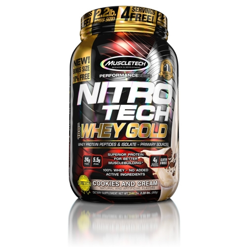 Nitro Tech 100% Whey Gold Sabor Cookies Cream (999g) - Muscletech