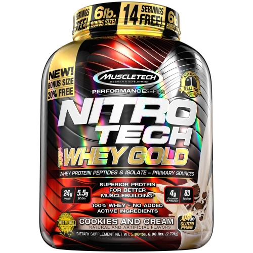 Nitro Tech 100% Whey Gold Sabor Cookies Cream (2,5kg) - Muscletech