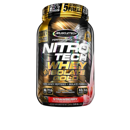 Nitro Tech Plus Whey Gold Isolate Sabor Morango (907g) - Muscletech
