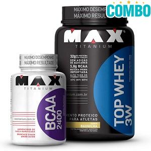 Combo Max Titanium Ganho de massa: Top whey 3w Sabor Vitamina de Frutas (900g) + BCAA 2400 (100 Cápsulas)