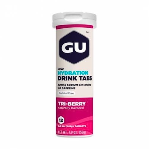 GU Hydration Drink Tabs Sabor Frutas Vermelhas (Tubo com 12 Pastilhas) 55g - GU Energy