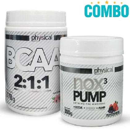 Combo Physical Pharma: 1 BCAA 2:1:1 Sabor Açaí e Guaraná (378g) + NOX 3 PUMP Sabor Frutas Amarelas - (300g) - Physical Pharma