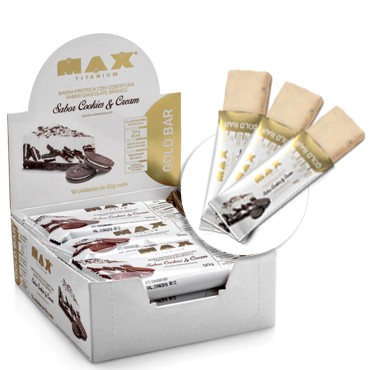 Gold Bar Sabor Cookies & Cream (caixa c/ 12 Unidades de 50g) - Max Titanium