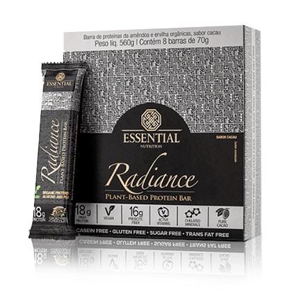 Radiance Protein Bar Sabor Cacao + nibs + chocolate (Cx c/ 8 unidades de 70g) - Essential