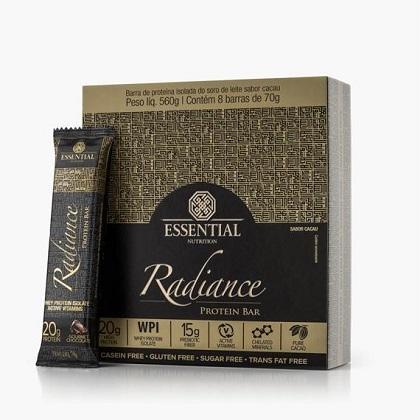 Radiance Protein Bar Sabor Gourmert Chocolate (Cx c/ 8 unidades de 70g) - Essential