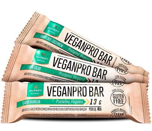 Veganpro Bar - Amendoim Crocante - Nutrify - Caixa 10 Unidades de 40g