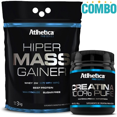 Combo Hiper Mass Gainer Sabor Baunilha (3 Kg) + Creatina Pro Series 100% Pure (300g) - Atlhetica Nutrition