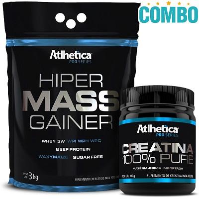Combo Hiper Mass Gainer Sabor Morango (3 Kg) + Creatina Pro Series 100% Pure (300g) - Atlhetica Nutrition