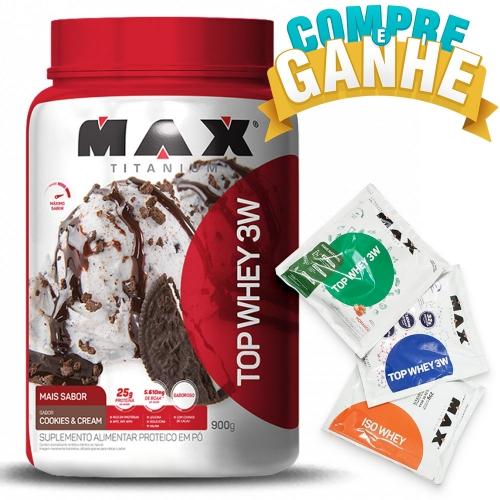 Compre Top Whey 3W Mais Sabor Cookies and Cream (900g) - Max Titanium e Ganhe 3 amostras