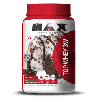 Top Whey 3W Mais Sabor Cookies & Cream (900g) - Max Titanium