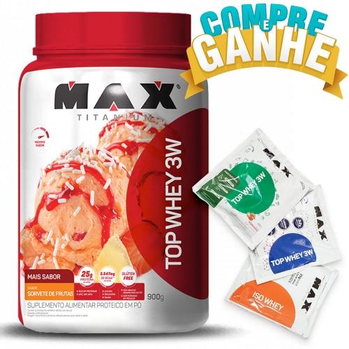 Compre Top Whey 3W Mais Sabor Sorvete de Frutas (900g) - Max Titanium e Ganhe 3 amostras
