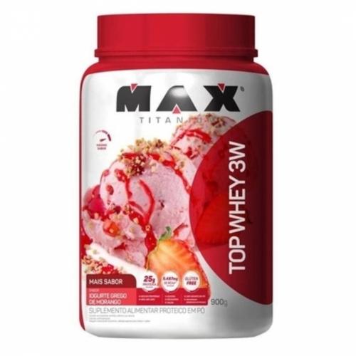 Top Whey 3W Mais Sabor Iogurte Grego de Morango (900g) - Max Titanium