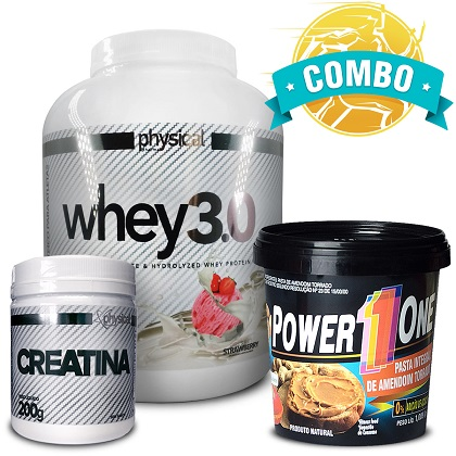 Combo Whey 3.0 Sabor Morango (2kg) - Physical Pharma + Creatina (200g) - Physical Pharma + Pasta de Amendoim Integra (1kg) - Power One