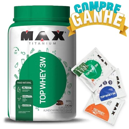 Compre Top Whey 3W Mais Natural Sabor Cacau (900g) - Max Titanium e Ganhe 3 amostras