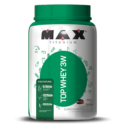 Top Whey 3W Mais Natural  Sabor Cacau (900g) - Max Titanium