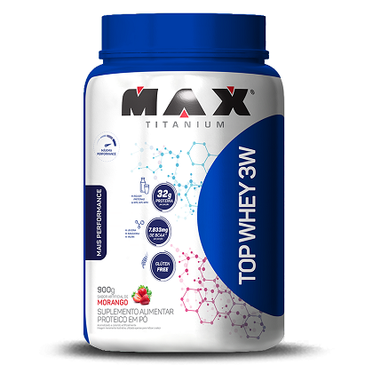 Top Whey 3W Mais Performance Sabor Morango (900g) - Max Titanium