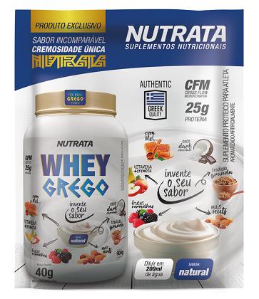 Whey Grego Sachê Sabor Natural (1 unidade de 40g) - Nutrata