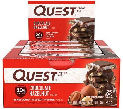 Quest Bar - Protein Bar Sabor Chocolate Hazelnut (Caixa c/ 12 Unidades de 60g cada) - Quest Nutrtion