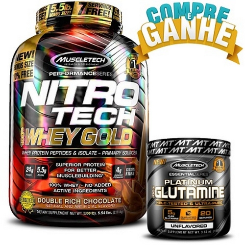 Compre Nitro Tech 100% Whey Gold Sabor Cookies (2,5kg) - (Ganhe 1 Glutamina 100g) - Muscletech