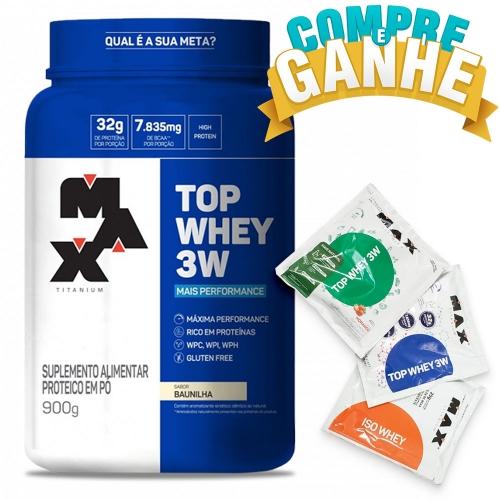 Compre Top Whey 3W Mais Performance Sabor Baunilha (900g) - Max Titanium e Ganhe 3 amostras