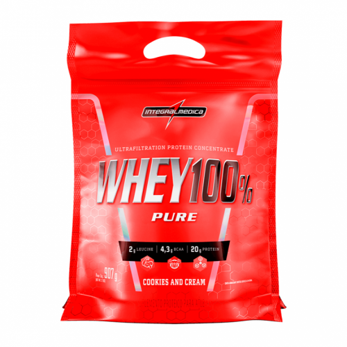 Whey 100% Pure Sabor Cookies (907g) Refil - Integralmédica