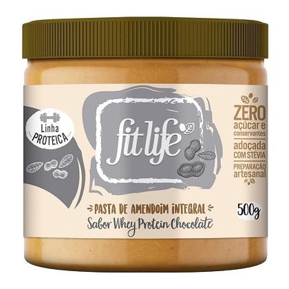 Pasta de Amendoim Linha Protéica Sabor Whey Chocolate (500g) - Fit Life