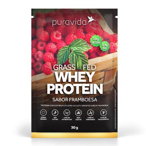 Whey Protein Grassfed Sabor Framboesa  (1 Sachê de 30 g) - Pura Vida
