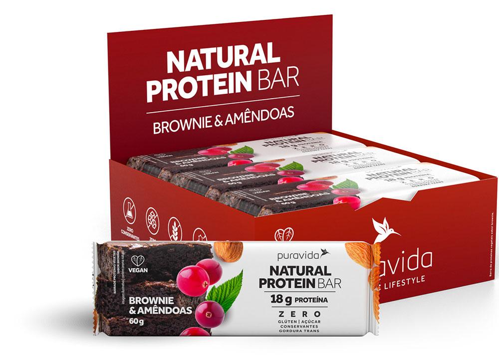 Natural Protein Bar Sabor Brownie & Amêndoas (Cx c/ 12 Unidades de 60g) - Pura Vida