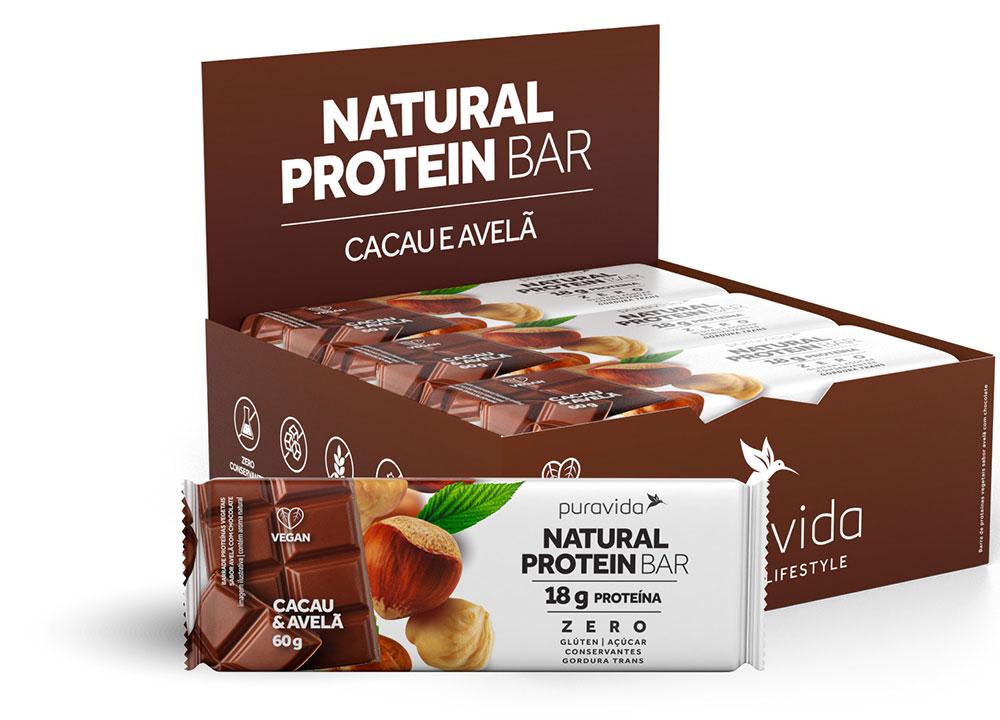 Natural Protein Bar Sabor Cacau e Avelã (Cx c/ 12 Unidades de 60g) - Pura Vida