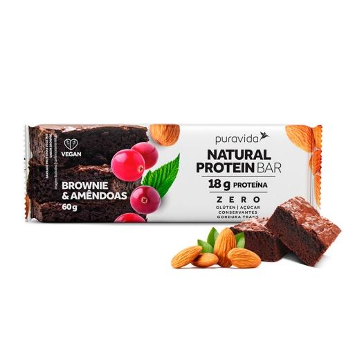 Natural Protein Bar  Sabor Brownie & Amêdoas (1 Unidade de 60g) - Pura Vida