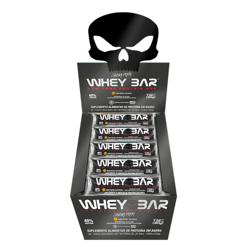 Whey Bar Sabor Amendoim (Cx c/ 24 Unidades de 30g) - Black Skull