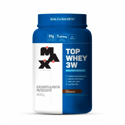 Top Whey 3W Mais Performance Sabor Chocolate (900g) - Max Titanium