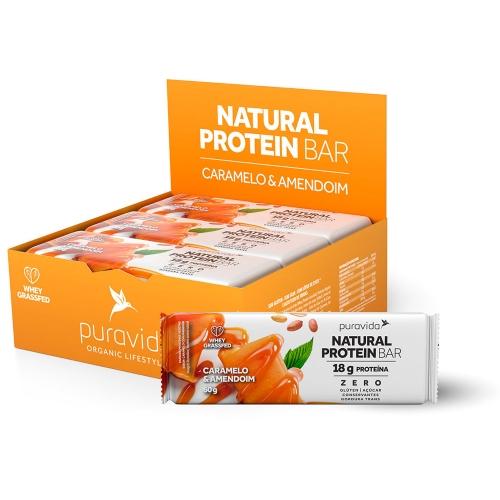 Natural Protein Bar Sabor Caramelo & Amendoim (Cx c/ 12 Unidades de 60g) - Pura Vida